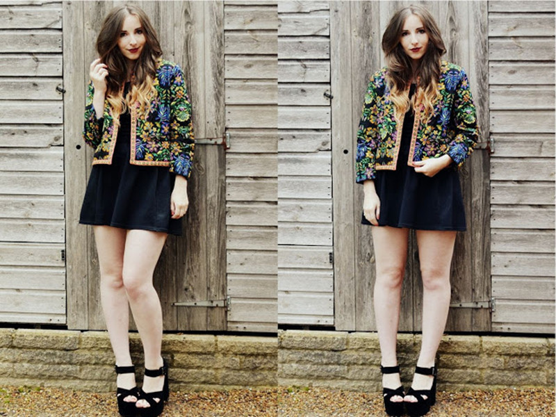 Jacket In Quilted Folk Print   Choies