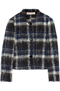 Marni Plaid brushed-tweed jacket - 66% Off Now at THE OUTNET