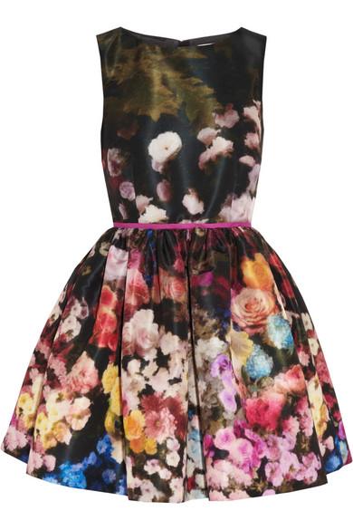 RED Valentino|Floral-print taffeta dress|NET-A-PORTER.COM