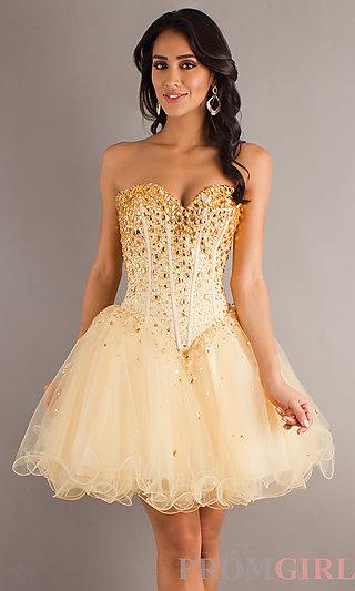 Short Strapless Prom Dress, Mori Lee Babydoll Prom Dress-PromGirl