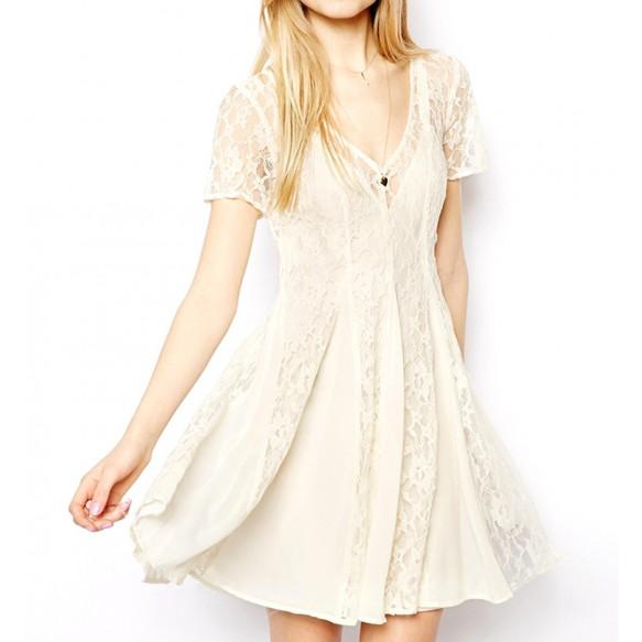 Lace Paneled A Line Sheath Dress at Style Moi