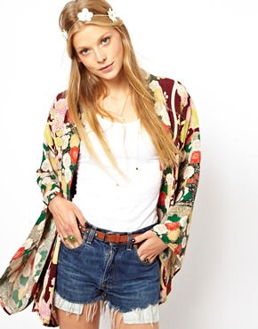 ASOS | ASOS Oversized Kimono In Cut About Oriental Floral Print at ASOS