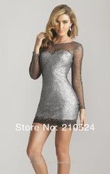 juweel hals lange mouwen pailletten kralen te zien door lichaam dichter mini schede prom dress 2013 gratis
