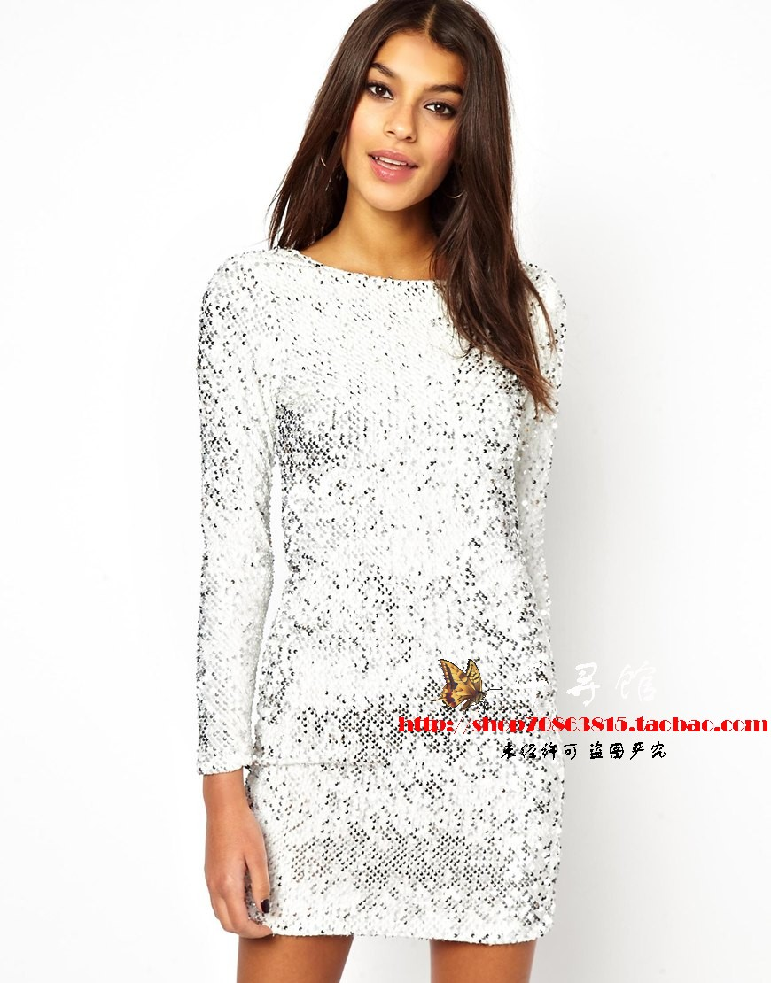 Free Ship Hot Sale Genuine Motel Gabby Iridescent Sequin Dress,  BLING BLING Metallic Paillette Plunge Back Sexy Club Wear WD207-inDresses from Apparel & Accessories on Aliexpress.com