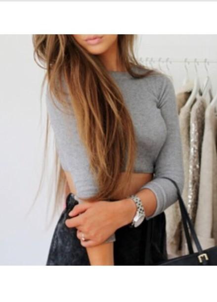 shirt grey girly crop tops