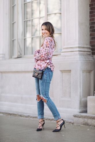 stephanie sterjovski - life + style blogger blouse shoes bag jewels gucci bag floral blouse high heel pumps