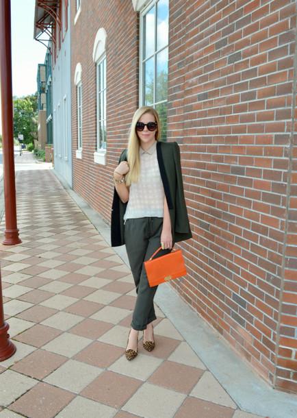 fash boulevard blogger top pants orange satchel bag blazer jacket bag shoes