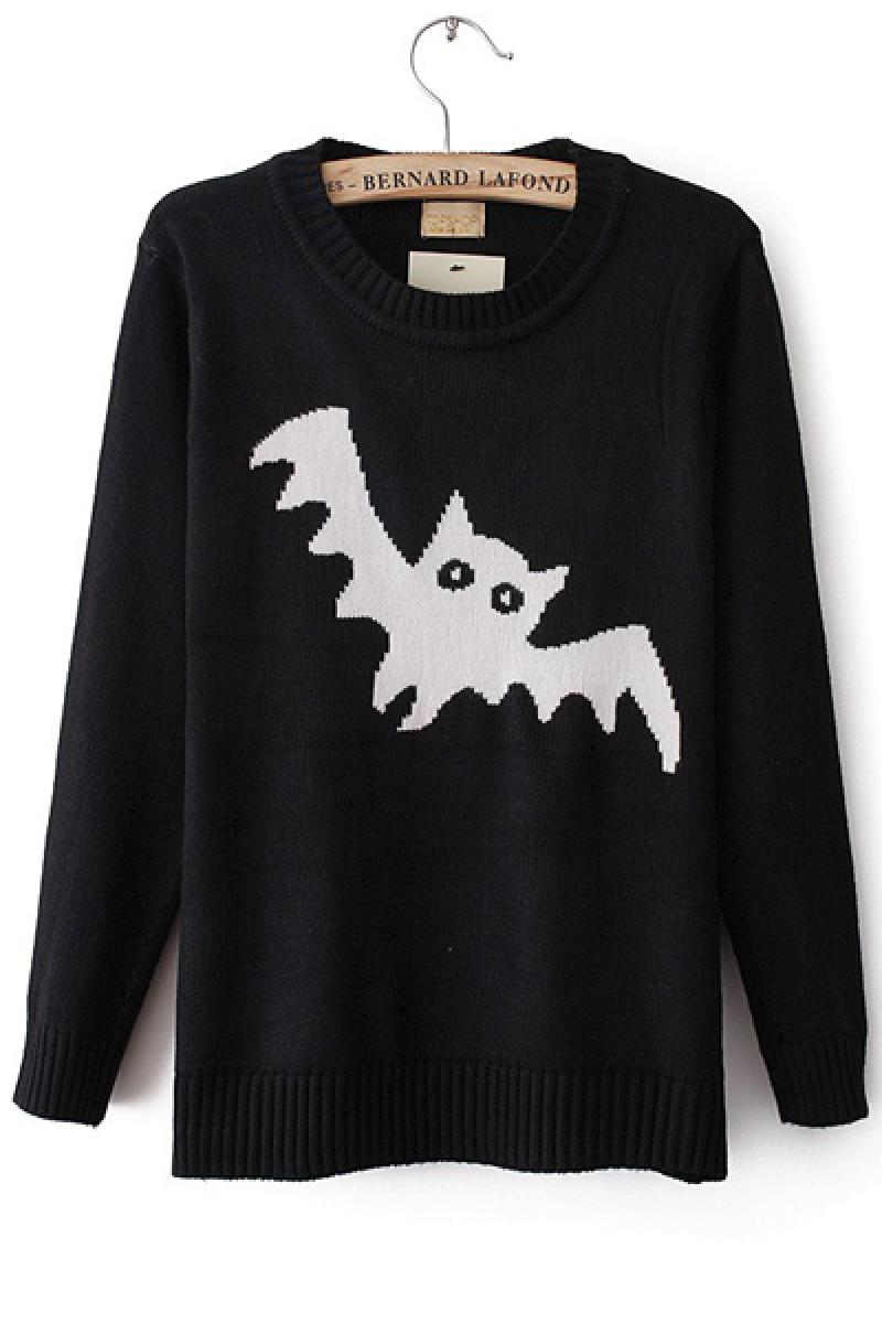 Black-White Bat Sleeve Pullover Bottoming Knitwear,Cheap in Wendybox.com