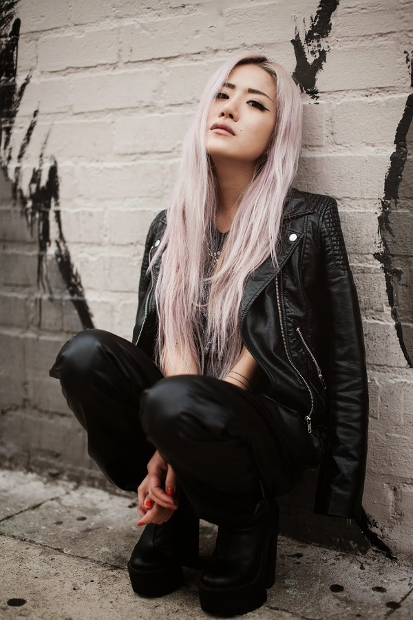 feral creature pastel hair pink hair leather jacket black leather jacket leather leggings all black everything