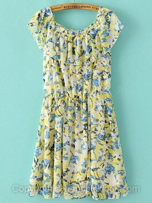 floral dress chiffon dress summer dress multicolor dress print dress yellow printed top handpicklook.com