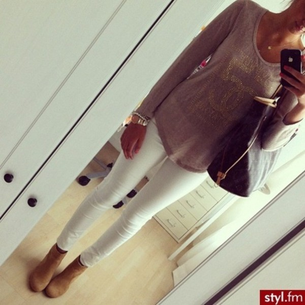 shirt jeans white pants summer look t-shirt champagne top blouse
