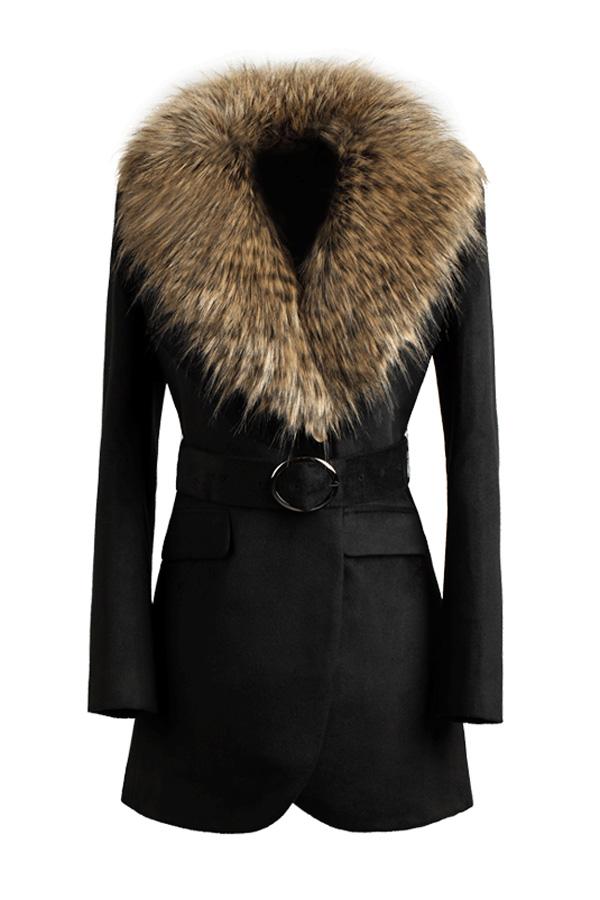 Faux Fur Collar Black Belted Coat - OASAP.com
