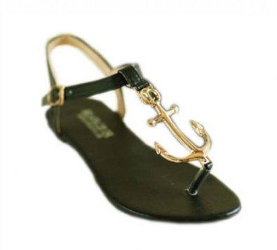Amazon.com: JSDY Women's Metal Anchor Sandals Pu Leather Flat Flip Shoes 3 Colors: Shoes