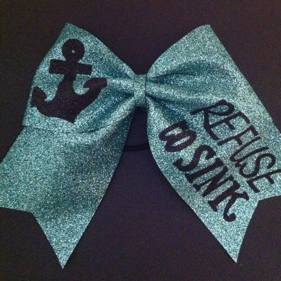 3in. Jade Glitter Anchor Cheer Bow Refuse to Sink by BowsByTeri