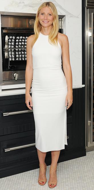 dress midi dress white dress summer dress bodycon gwyneth paltrow sandals shoes