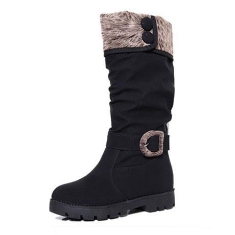 2013 color block decoration buckle flat high leg boots platform casual women's tall boots shoes-inBoots from Shoes on Aliexpress.com