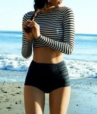 swimwear long sleeved swim suit retro two piece swim suit summer