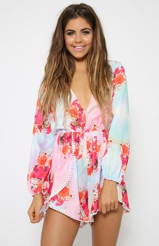 Kiss Me Playsuit - Print | Back In Stock | Clothes | Peppermayo