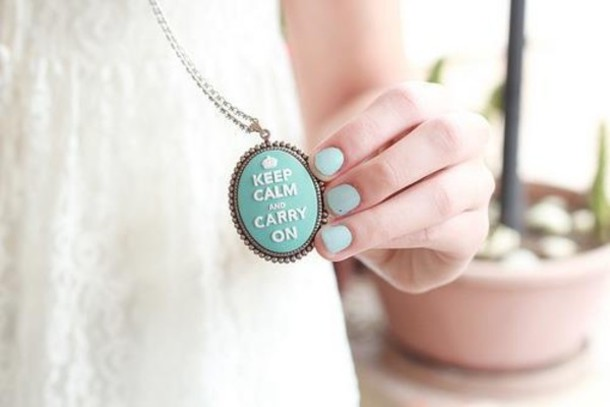 jewels keep calm carry on blue necklace oval