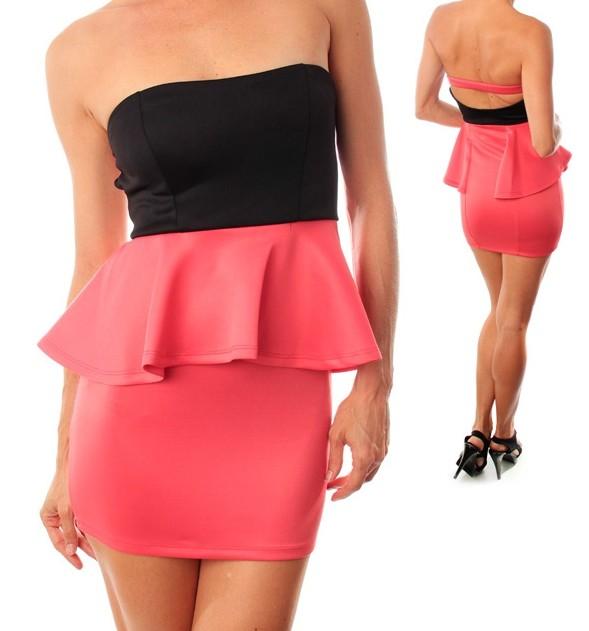 Sexy Strapless Black Coral Bodycon Color Block Peplum Dress s M L | eBay