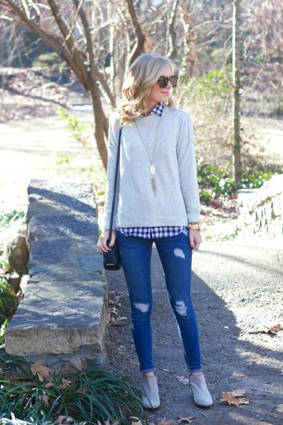 life with emily blogger sweater top shoes bag jewels sunglasses
