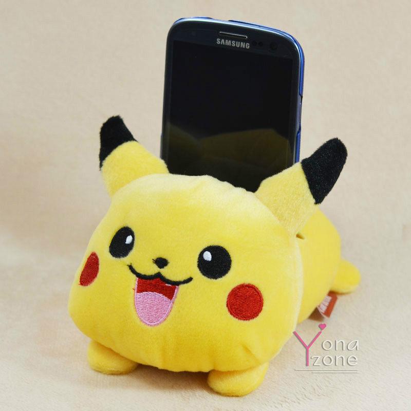 Cute Pokamon Pikachu Mobile Phone Holder Lovely Plush Animal Phone Set Case Toy   eBay