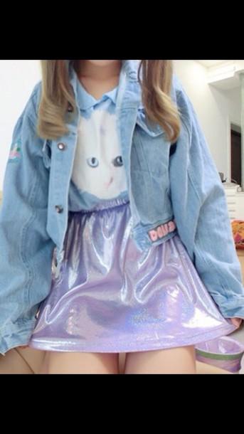 skirt cute skirt holographic kawaii jacket
