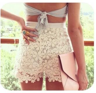 shorts dentelle flowers flowered shorts lace shorts white shorts
