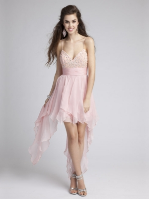 Buy Lovely Pearl Pink Beaded A-line Spaghetti Straps Asymmetrical Homecoming/Bridesmaid Dress  under 200-SinoAnt.com