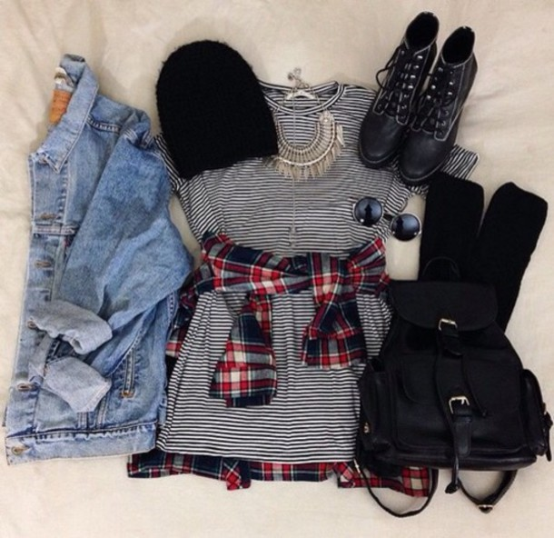 jacket hat dress blouse shoes bag stripes grunge black and white boots jewelry fall outfits weheartit hipster boho sunglasses jewels light blue jeans top striped dress