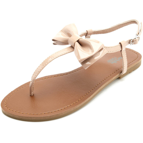 Patent Bow T-Strap Sandal - Charlotte Russe - Polyvore