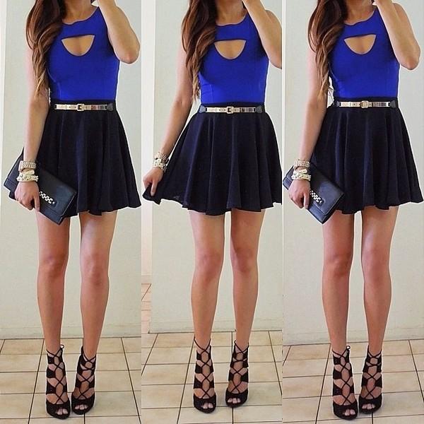 blouse skater skirt clutch high heels mini skirt blue top date outfit black skirt