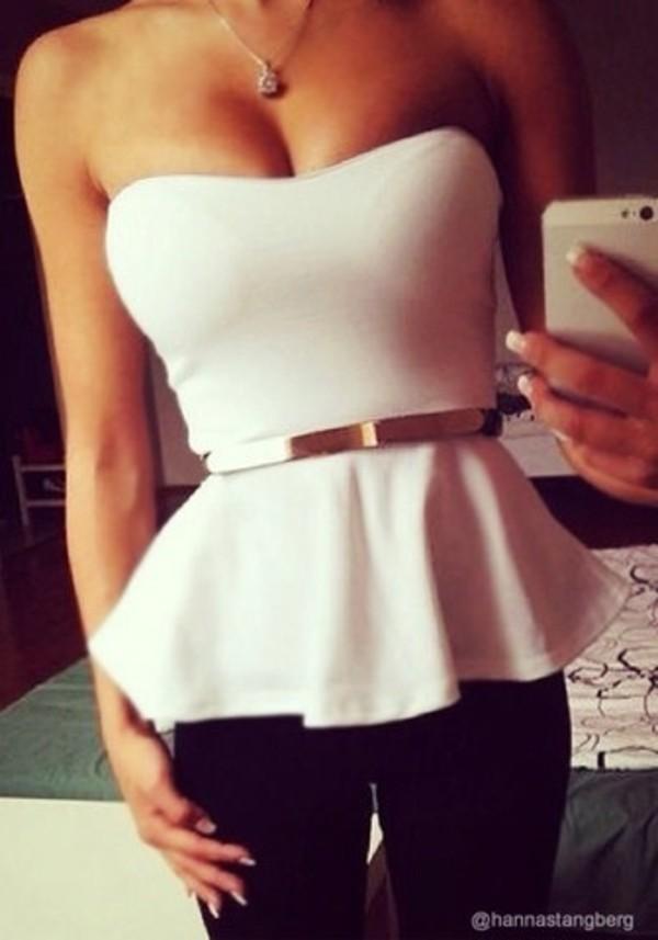 skirt shirt blouse white peplum pretty peplum top belt top