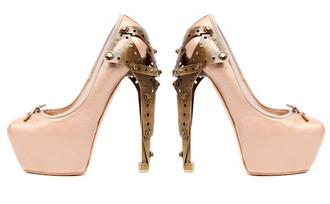 pumps pink ballerina alexander mcqueen metal heel high heels pink shoes brown shoes shoes