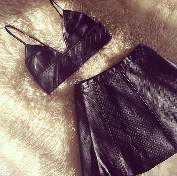 t-shirt leather t-shirt black leather skirt black criss cross shirt skirt bustier