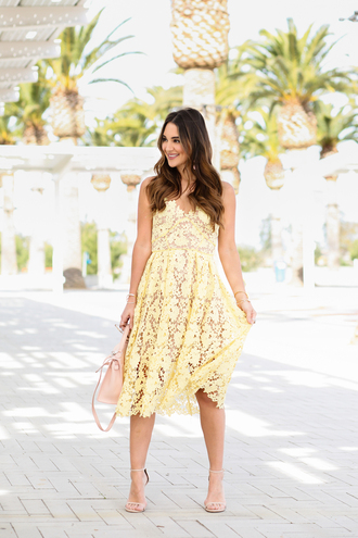 carriebradshawlied blogger dress shoes bag jewels sunglasses yellow dress lace dress midi dress sandals high heels