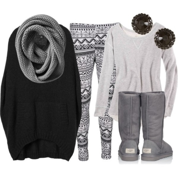 sweater grey ugg boots earrings leggings scarf grey scarf cute leggings pants ugg boots black earrings shirt winter sweater winter outfits winter outfits grey sweater snowflake grey knit shoes white cool tribal pattern boots