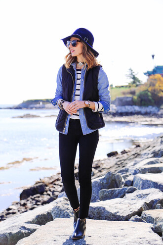 prosecco and plaid blogger jewels jeans jacket fall outfits denim shirt stripes ankle boots sunglasses quilted vest