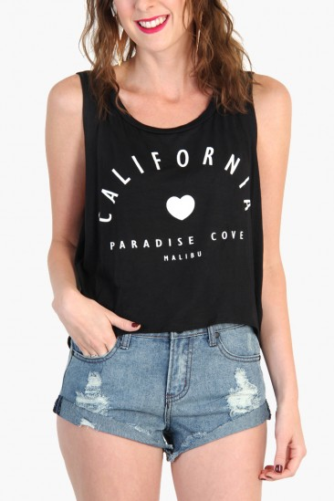 LoveMelrose.com From Harry & Molly | CALIFORNIA MALIBU CROP TANK TOP - Black