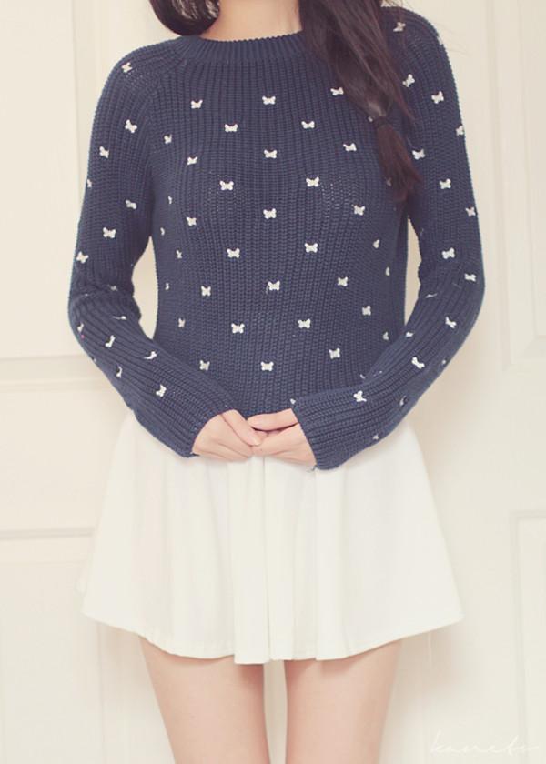 sweater kawaii navy bows white bows white white skirt skirt