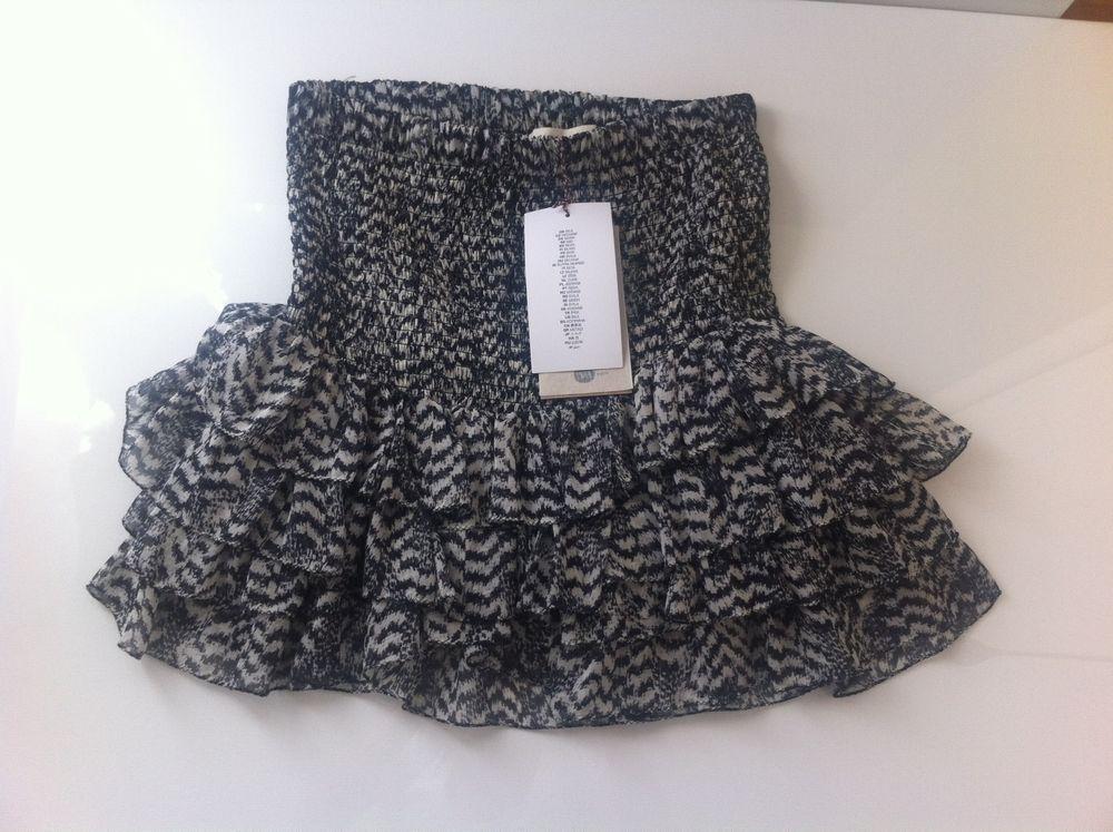 Isabel Marant for H M Ruffle Hem Black White Print Ikat Skirt Size EU36   eBay