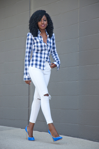 blogger shirt gingham white ripped jeans