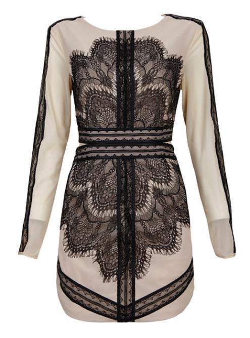 Black Lace Mesh Embroidery Sexy Slim Dress MX108$129