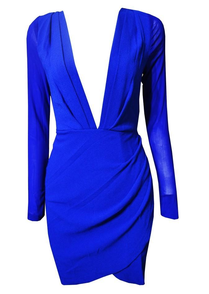 Blue Party Dress - Blue Plunge Neckline Long Sleeve | UsTrendy