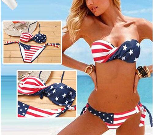 Free Shipping Fashion steel bikini american flag steel bikini swimwear EG6106-in Bikinis Set from Apparel & Accessories on Aliexpress.com