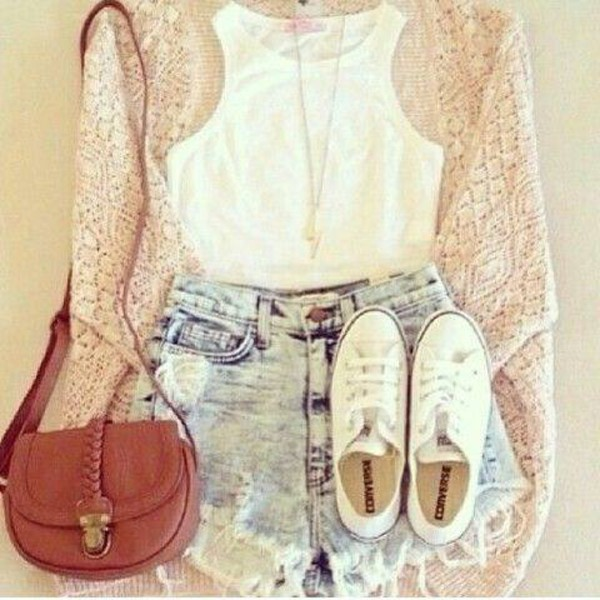 shirt girl lace crochet clothes cardigan shorts