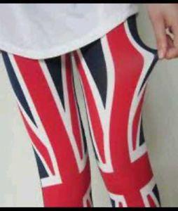 UK Flag Free People Women Rock Roll Leggings Tights Red Blue One Size | eBay