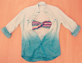 swimwear aztec fashion summer prettty pink turquoise yellow multicolor beach sunshine blouse jacket