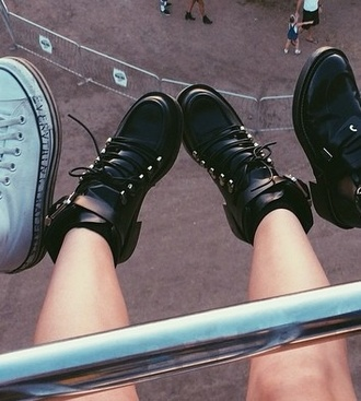 shoes boots chunky high heeled ankle boots chelsea boots cut out ankle boots vintage clothes black studs carnival booties edgy lace dress high heels high top sneakers black boots grunge shoes drmartens fall outfits timberland boots studded hot cute shoes