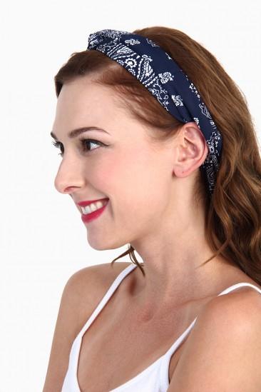LoveMelrose.com From Harry & Molly | BANDANA TURBAN HEADBAND - Blue
